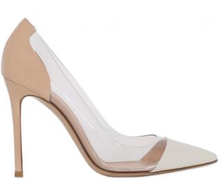 Gianvito Rossi plexi pump in white beige patent leather
