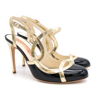 Rupert Sanderson Black and Gold Strap Heels