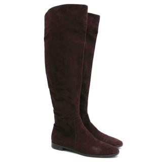 Sergio Rossi Suede Purple Long Boots