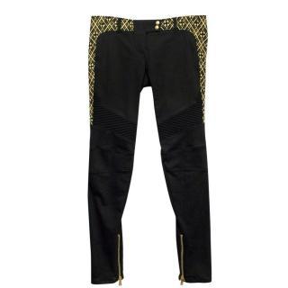 Balmain Black and Gold Straight Leg Jeans