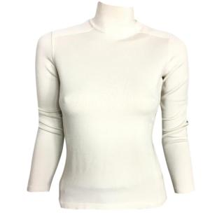 PRADA cream sweater with high neck and suede elbow paches