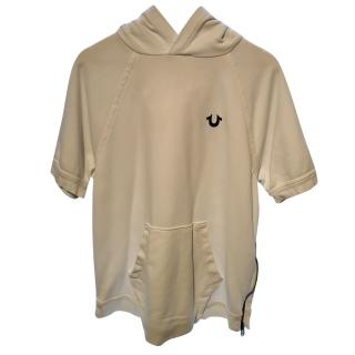 True Religion White Distressed Short Sleeve Hoodie