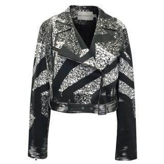Mary Katrantzou Black and Cream Print Biker Jacket