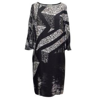 Mary Katrantzou Monochrome Printed Silk Midi Dress