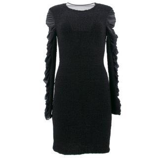 Alexander Wang Black Silk Ruched Long Sleeve Dress