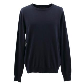 Joseph Navy Crew Neck Wool Jumper