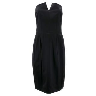 Yves Saint Laurent Black Strapless Silk Dress