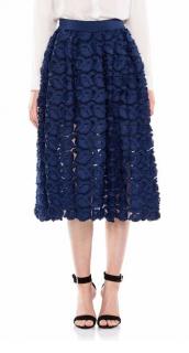 Maje 'Jardin' Marine Embroidered Skirt