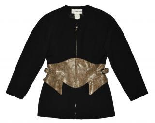 Mugler Black Faux Snakeskin Full Zip Jacket