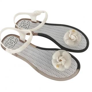 Chanel jelly camelia thong sandal