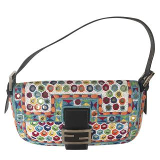 Fendi baguette bag in multicolour cotton embroidery