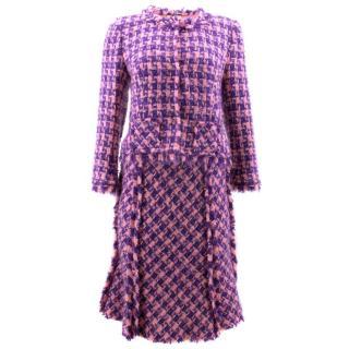 Nina Ricci Pink and Purple Plaid Skirt Suit