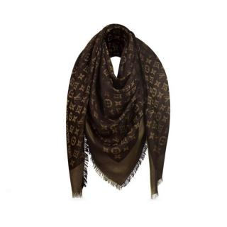 Louis Vuitton Brown and Gold Shine Shawl Scarf