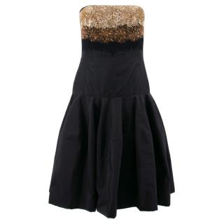 Alexander McQueen Black and Gold Embellished Silk Dress