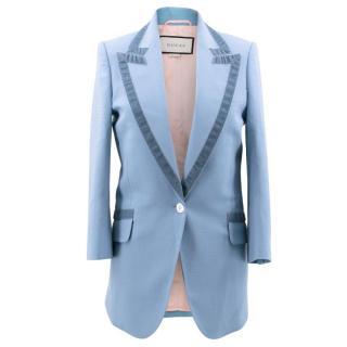 Gucci Blue Wool and Velvet Blazer