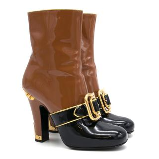 Prada Buckled Two-Tone Patent Leather Buckle Boots