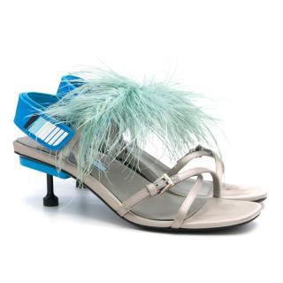 Prada Grey Feather Embellished Heeled Slingback Sandals
