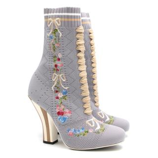 Fendi Grey Embroidered Stretch Knit Ankle Boots