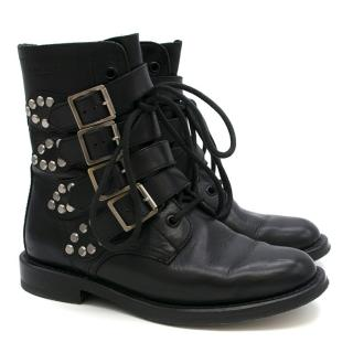 Saint Laurent Black Leather Studded Biker Boots