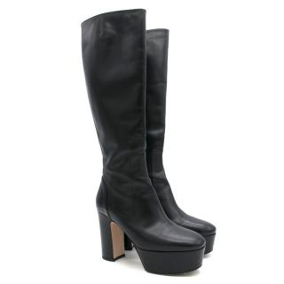 Gucci Black Leather Knee-High Platform Boots