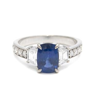Sapphire and Diamond Fine White Gold Ring