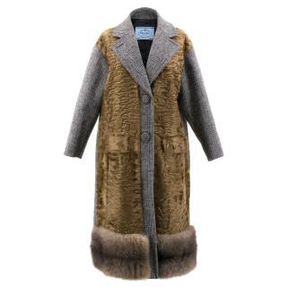 Prada Grey Fur Trimmed Coat