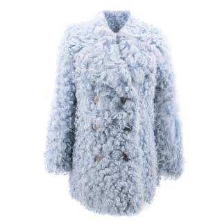 Gucci Blue Shearling Coat