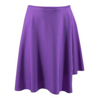 Balenciaga Purple Asymmetric Stretch-Satin Wrap Skirt - SS17