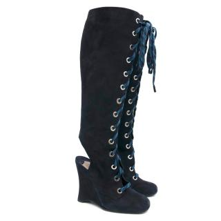Prada Lace-up wedge boots
