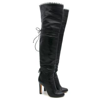 Francesco Russo Black Leather Heeled Boots