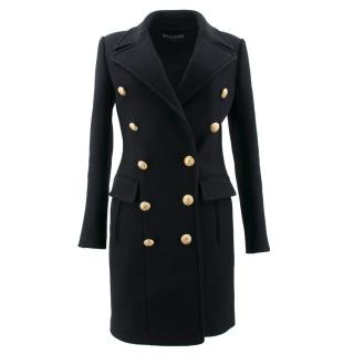 Balmain Black Cashmere Blend Coat - SS17