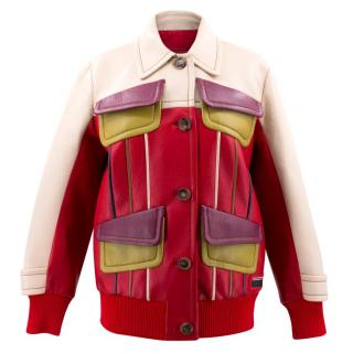 Prada Red and Cream Panelled Leather Jacket