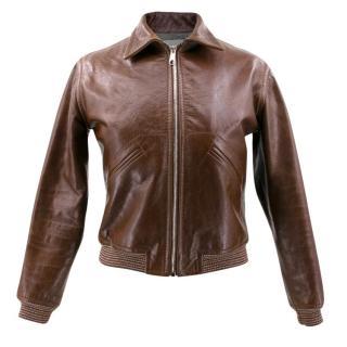 Hiller Bartley Brown Leather Bomber Jacket