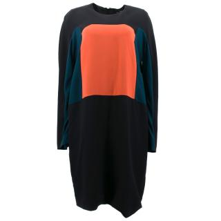 Fendi Silk Blend Abito Colour Block Dress