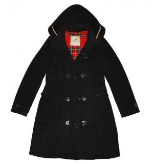 Thomas Burberry Black Duffle Coat with Plaid Lining