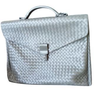 Bottega Veneta  signature briefcase in grey intrecciato VN