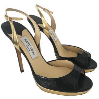 Jimmy Choo black snakeskin sandals