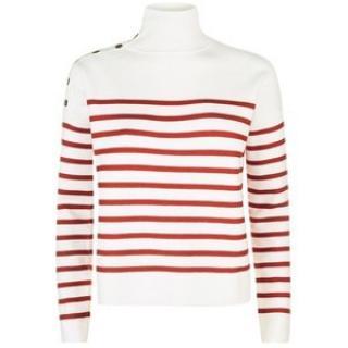 Maje Montauban red & white striped sailor style jumper