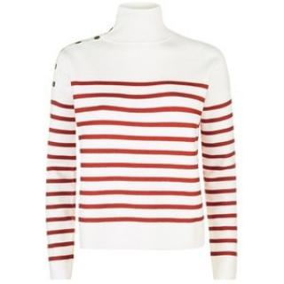 Maje Montauban red & white striped sailor style jumper