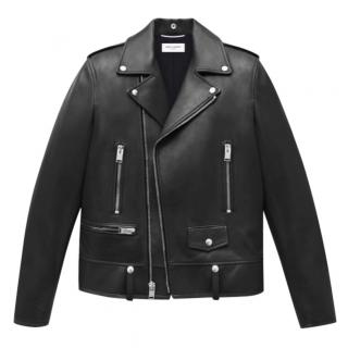 Saint Laurent Men's Black Leather Biker Jacket worn 2 times only