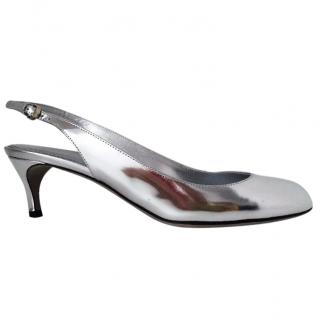 Sergio Rossi Silver Leather Slingbank Shoes