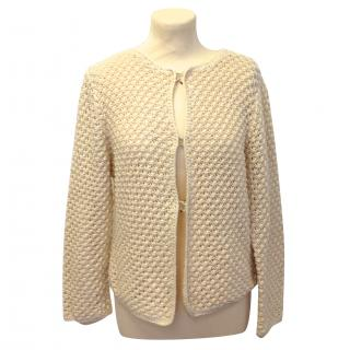 Carolina Herrera Cream Knit Cardigan
