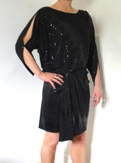 David Meister draped sequinned cocktail dress