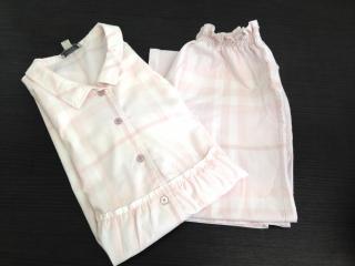 Burberry long light pink checked pyjama set