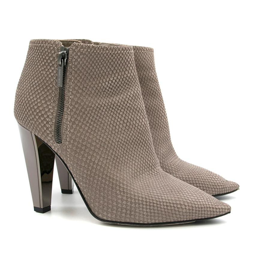 Jimmy Choo Taupe Leather Ankle Boots