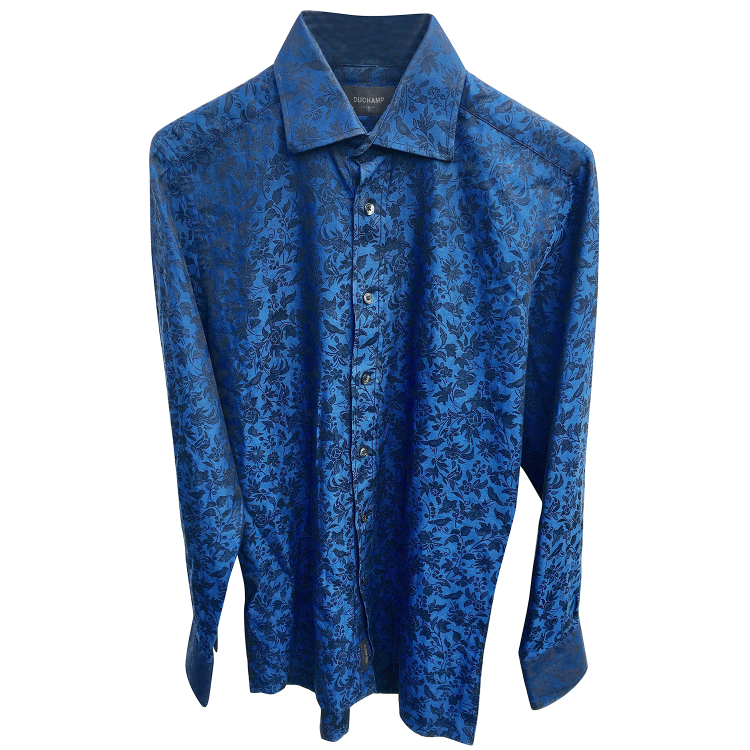 Duchamp Blue Floral Pirnt Shirt