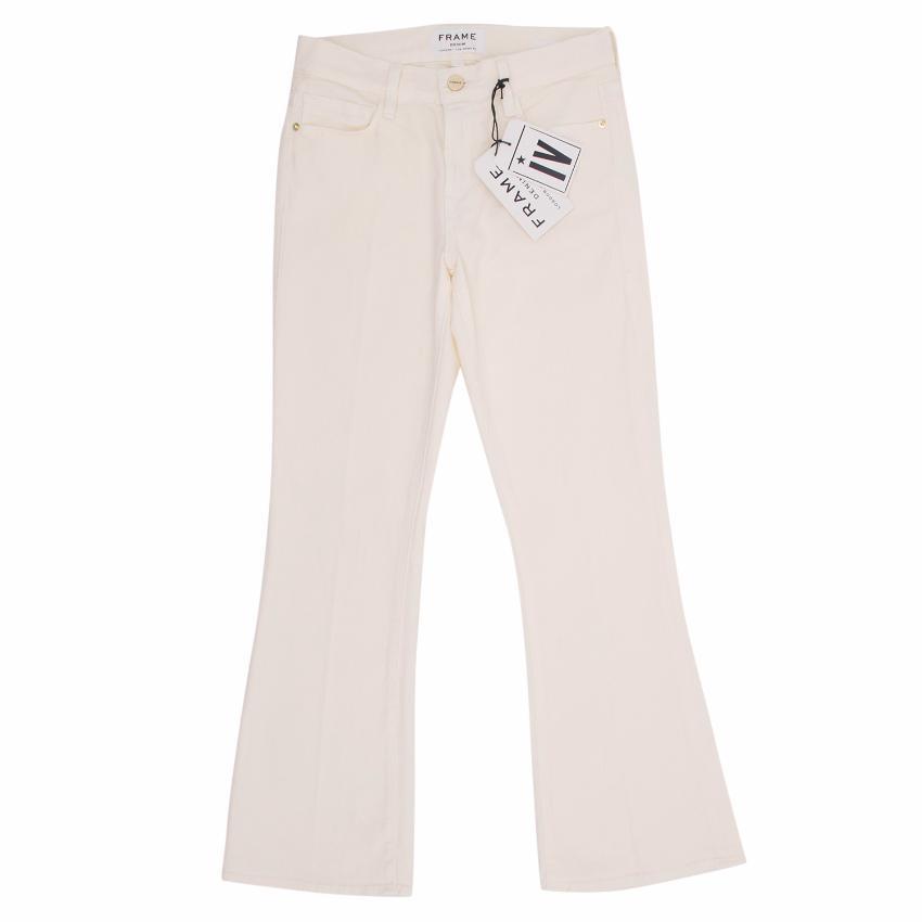 Frame Denim Cream Cropped Flared Jeans