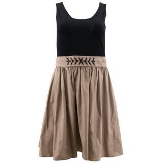 Paule Ka Black and Nude Flare Dress
