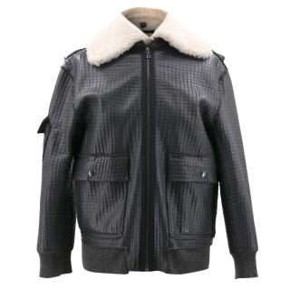 Brock Collection Grey Leather Jacket with Fur Collar