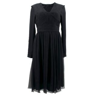 Burberry Black Silk Long-Sleeve Gathered Dress